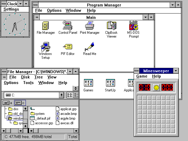 栈式窗口管理器的例子,Windows 3.11 的桌面